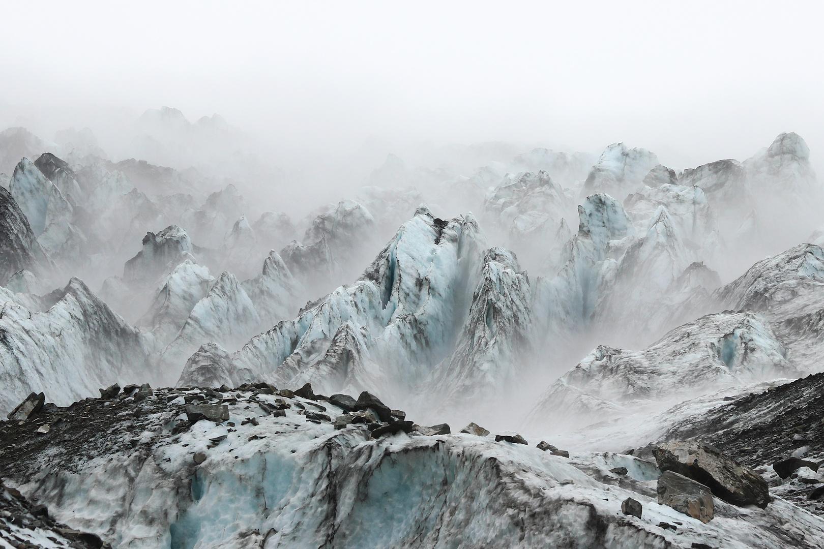 Fox Gletscher New Zealand aufkommender Nebel