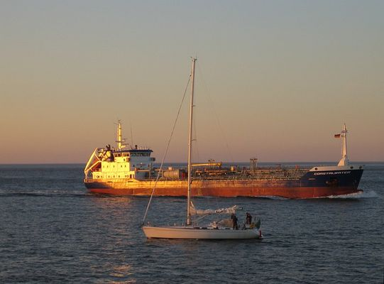 Frachter an der Nordsee