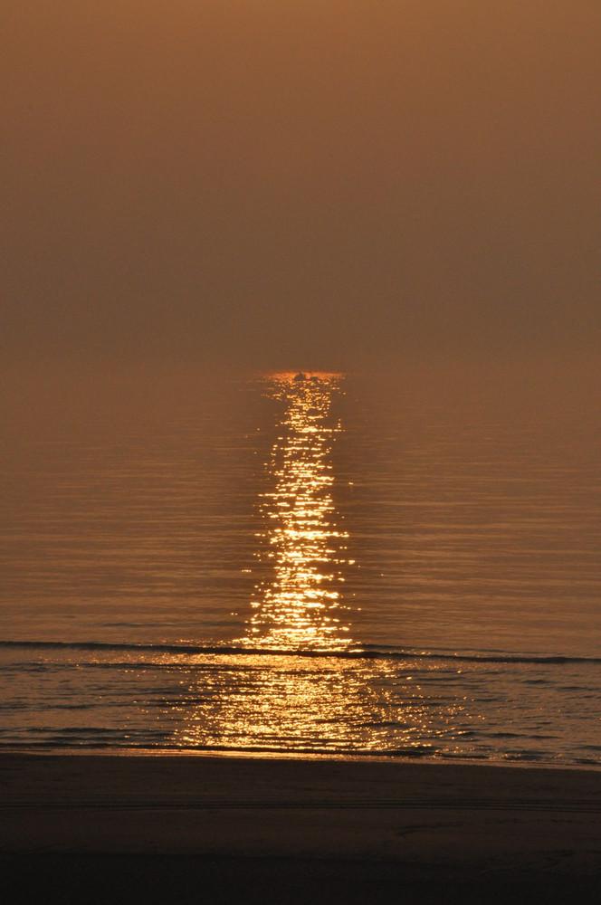 Frachter in Sonnenlicht
