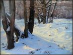 Fragment of painting with a winter landscape