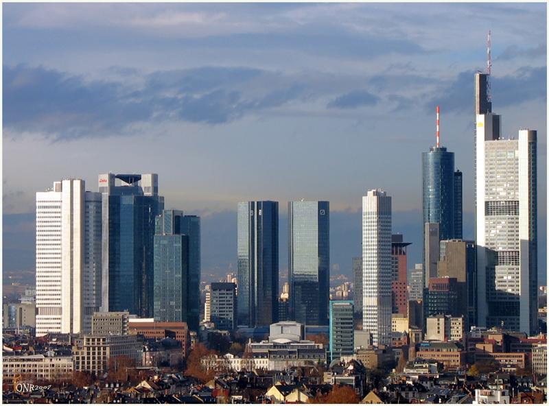 Frankfurt am Main, Hochhäuser in der Abendsonne