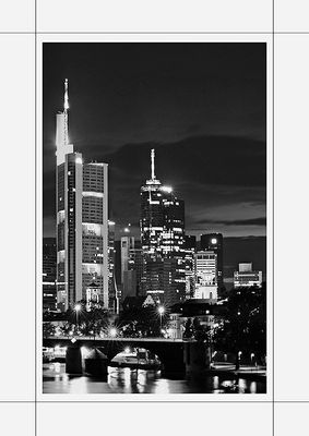 Frankfurt at night - black and white