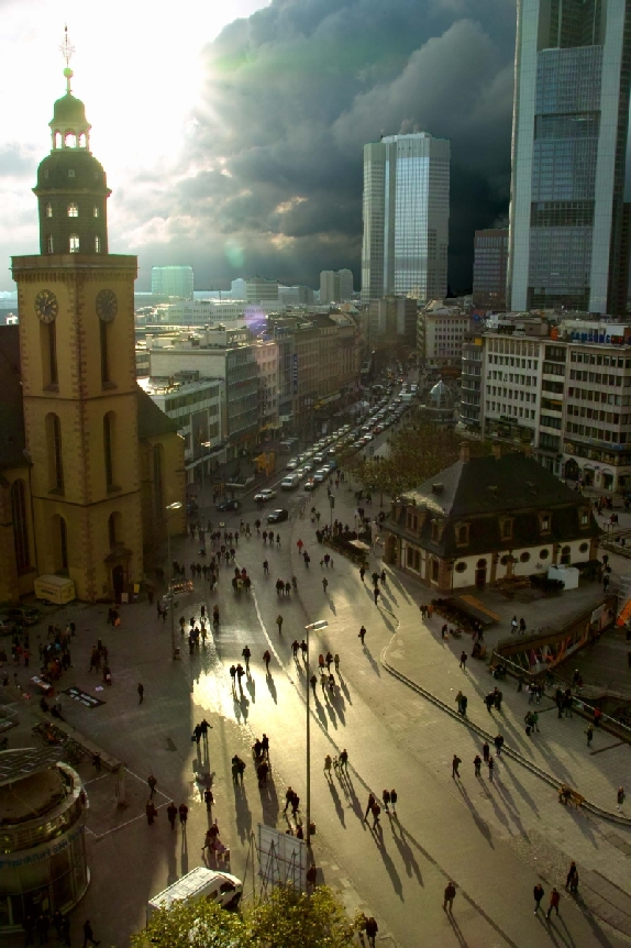Frankfurt Hauptwache Taubenperspektive