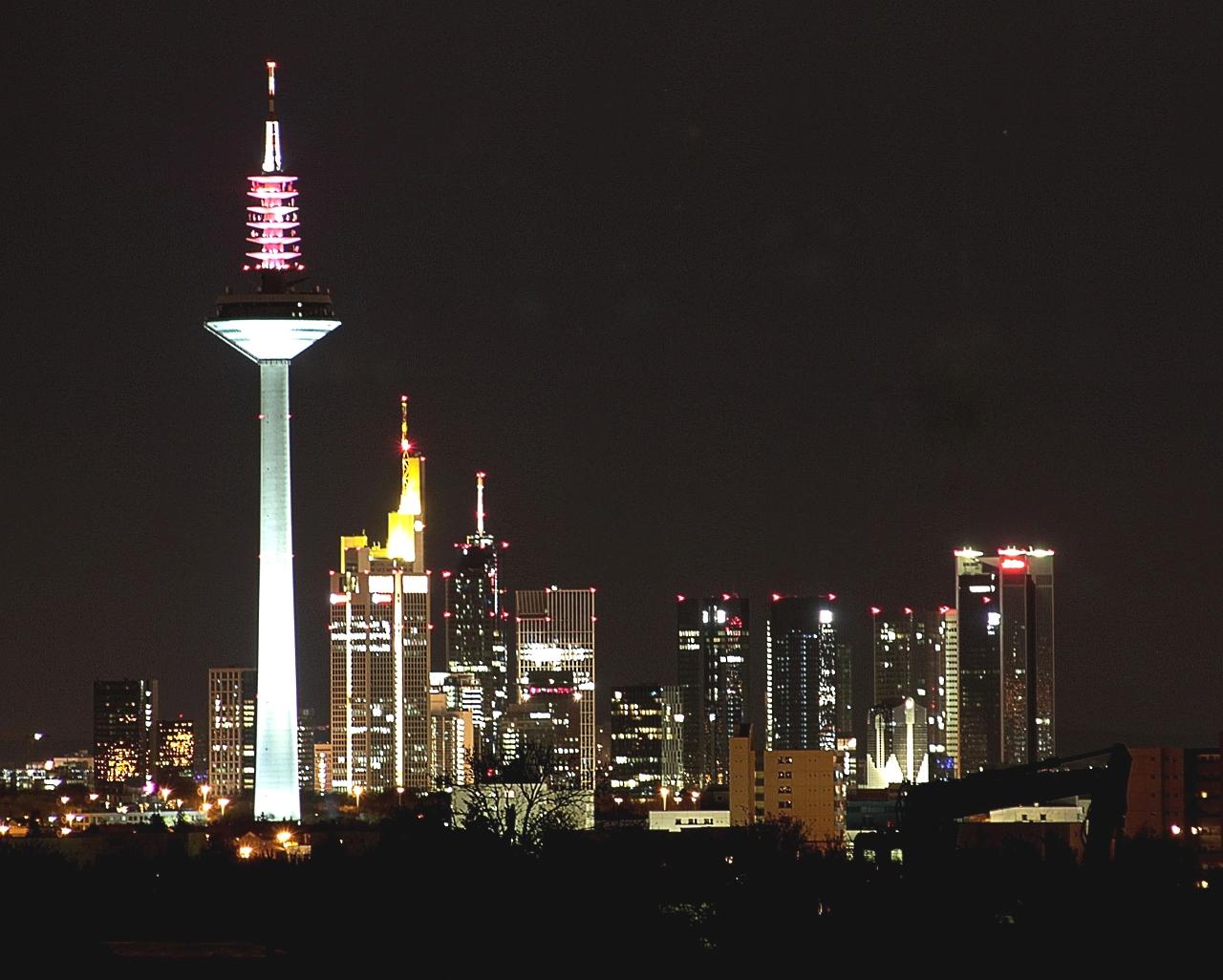 Frankfurt skyline at night (detail)