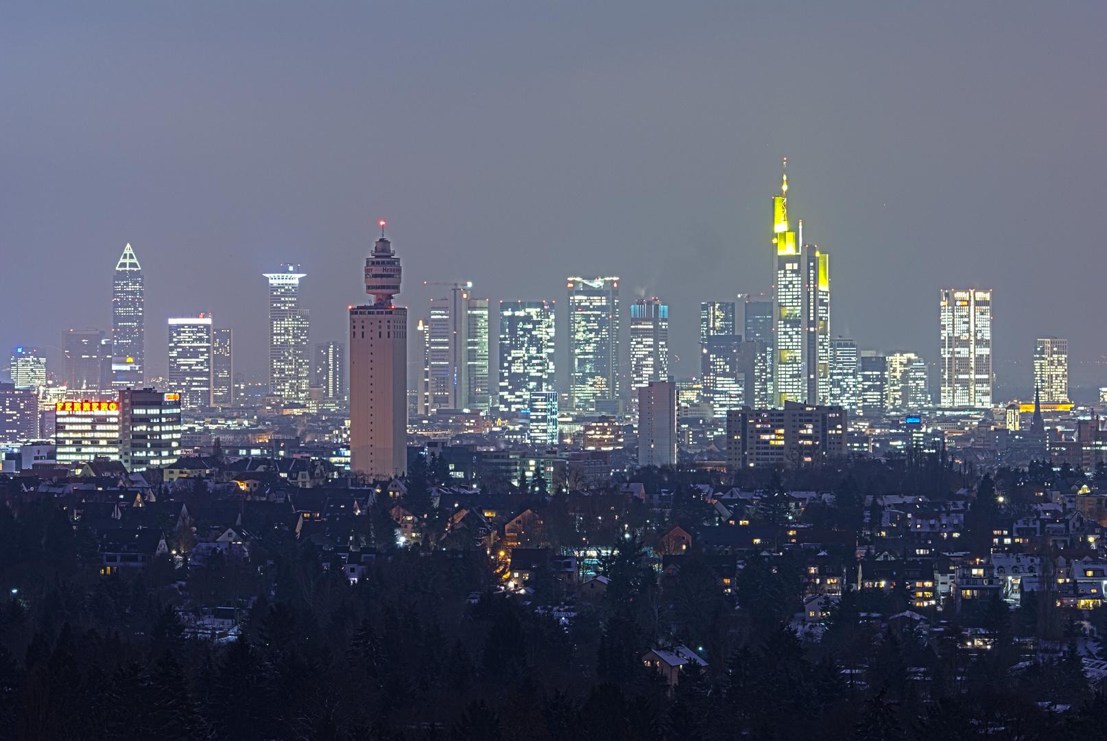 frankfurt skyline night goetheturm hdr foto bild. Black Bedroom Furniture Sets. Home Design Ideas