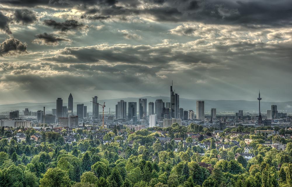 Frankfurt vor Sonnenuntergang