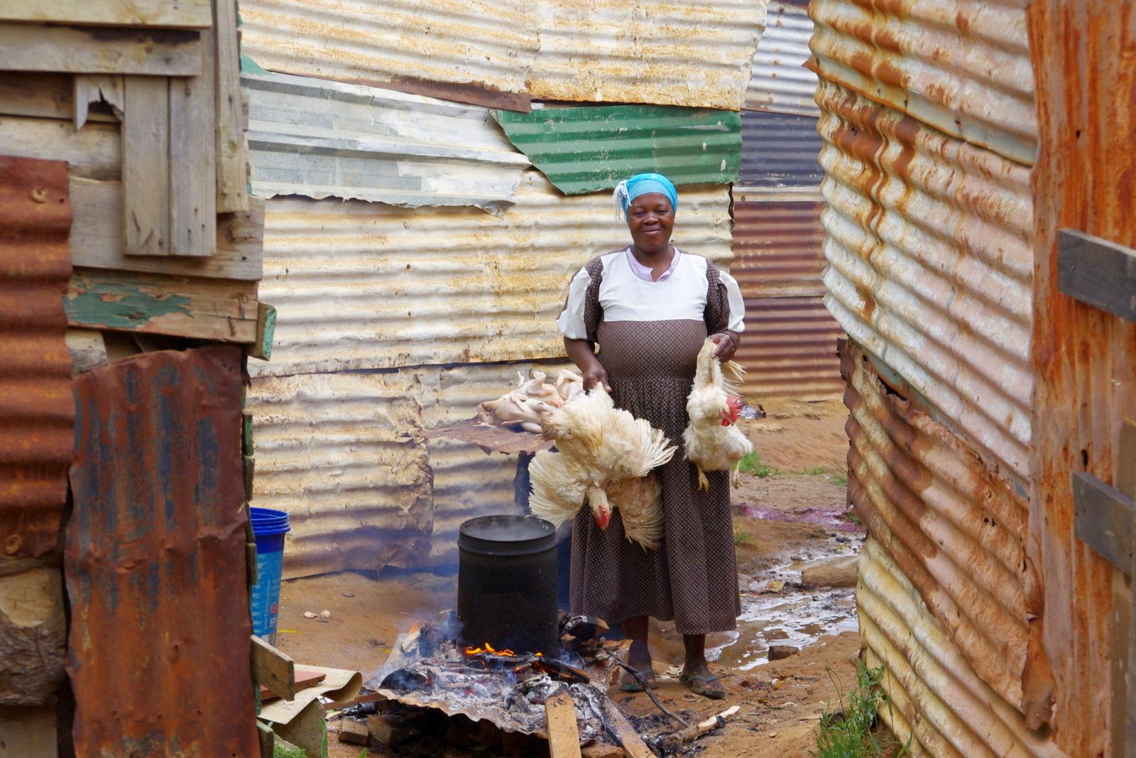 Frau mit Hühnern
