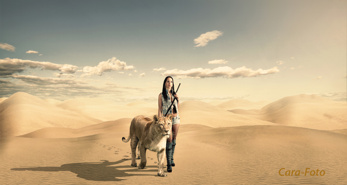 Frau mit Löwin