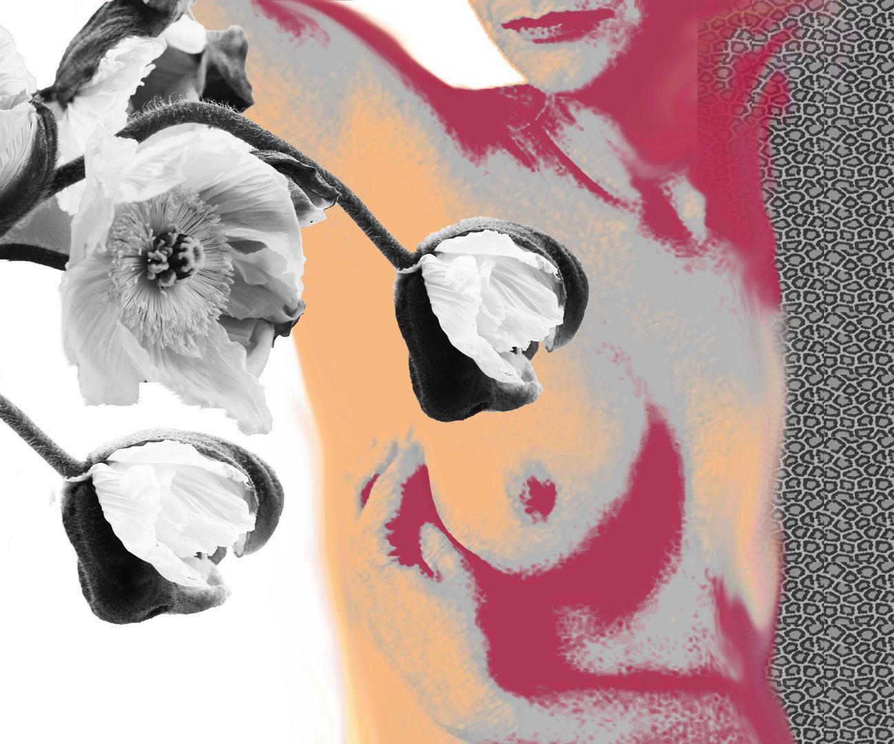 Frau rosa schwarz - weiss