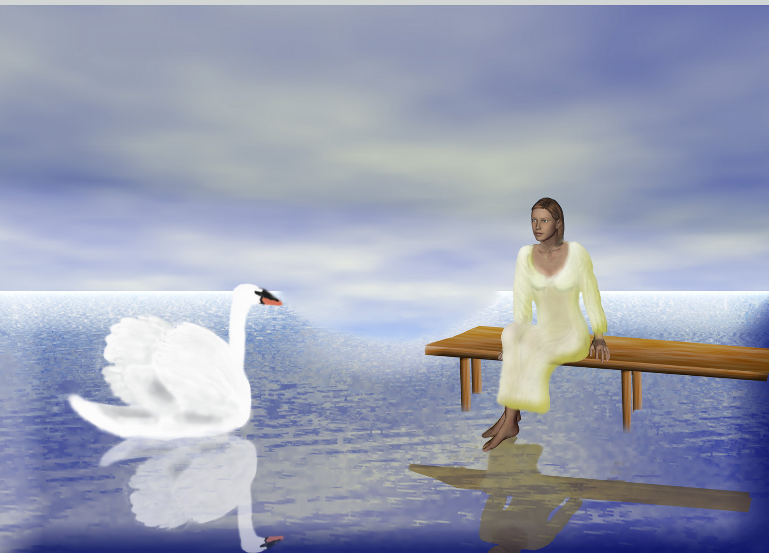 Frau und Schwan die 2