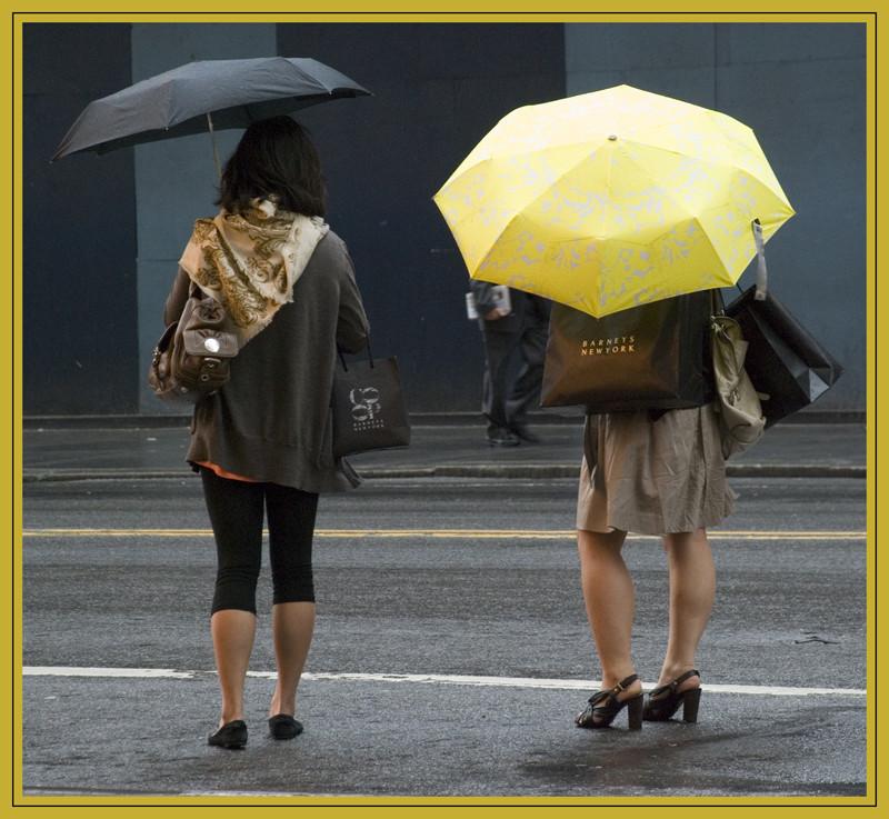 Frauen haben viele Einkaufen gemacht und warten in der Regen NY