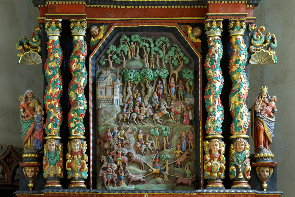 Fraukirch in der Pellenz (Tuffsteinaltar mit der Genovevalegende)