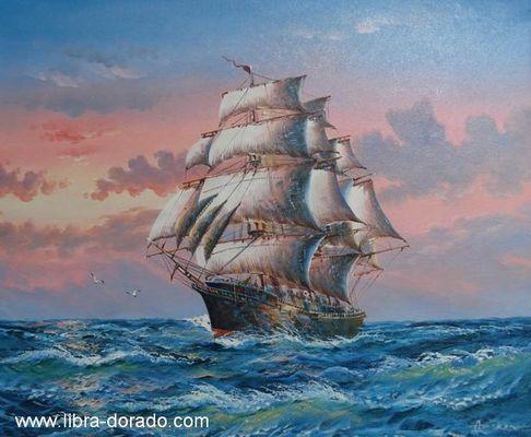 Fregatte auf hoher See (Handgemaltes Ölgemälde)