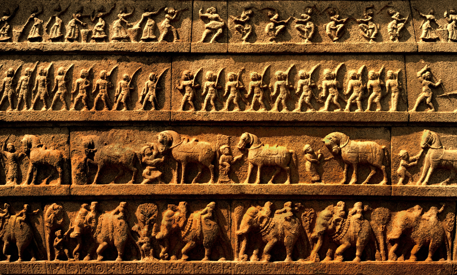Fries mit Tänzerinnen Pferden u Elefanten