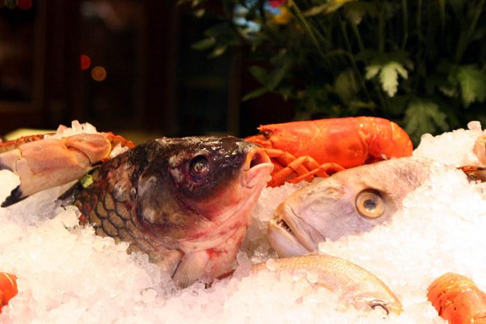 Frischer Fisch vor einem Restaurant in Venedig