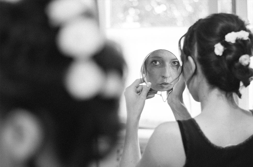 Frisur im Spiegel