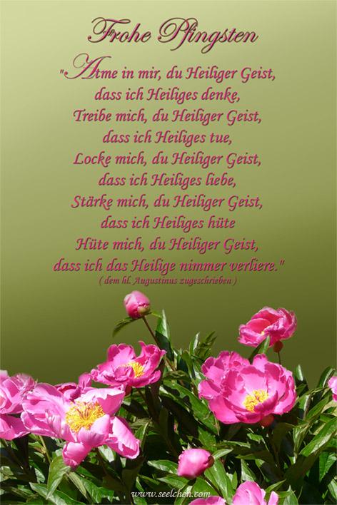 Frohe Pfingsten / Spruchkarte mit Gebet 2