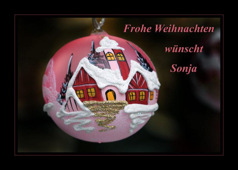 Frohe Weihnachten wünscht Sonja