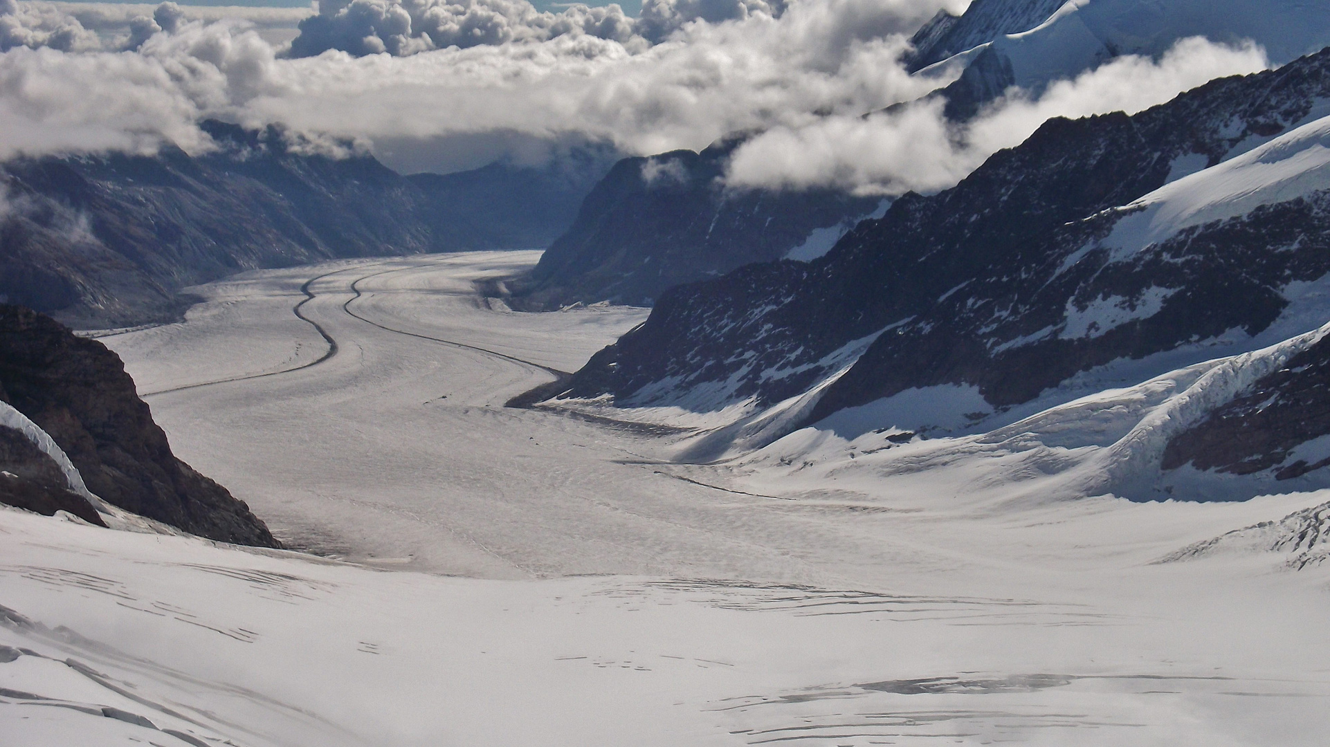from the Top of Europe a glimpse of the Aletsch Glacier