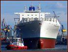 frontal - Leeres Containerschiff