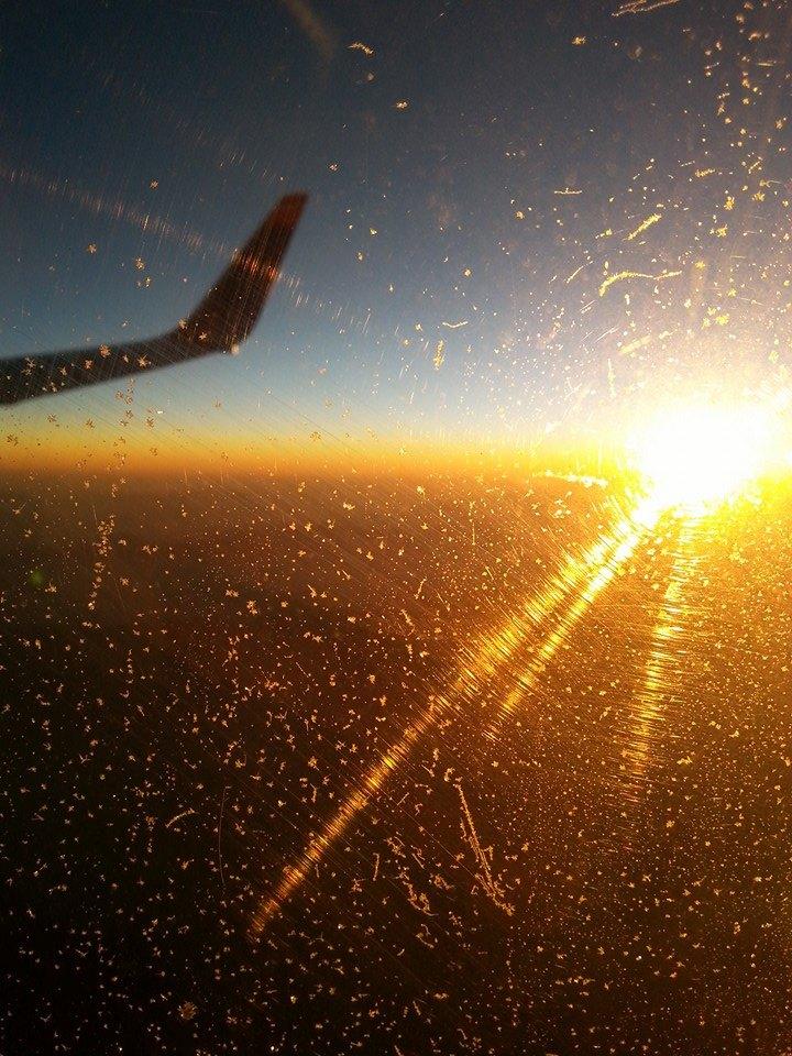 Frostiger Sonnenuntergang