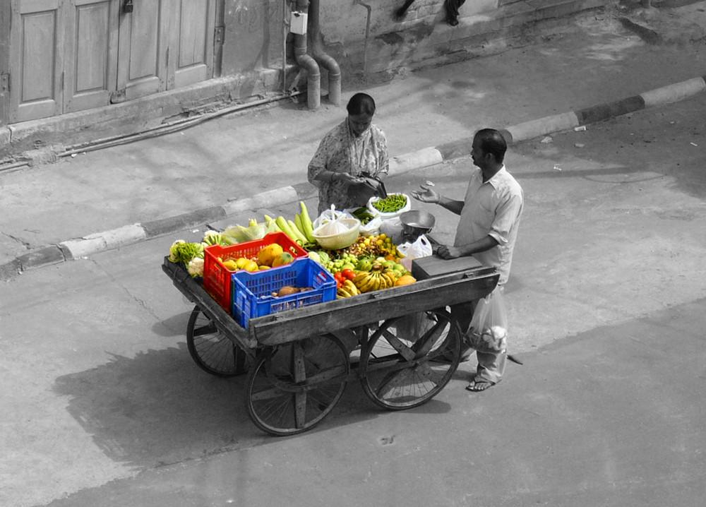 Früchtestand in Indien
