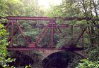 Früher eine bedeutende Bahn, heute nur noch ein par Überreste wie diese genietete Brücke