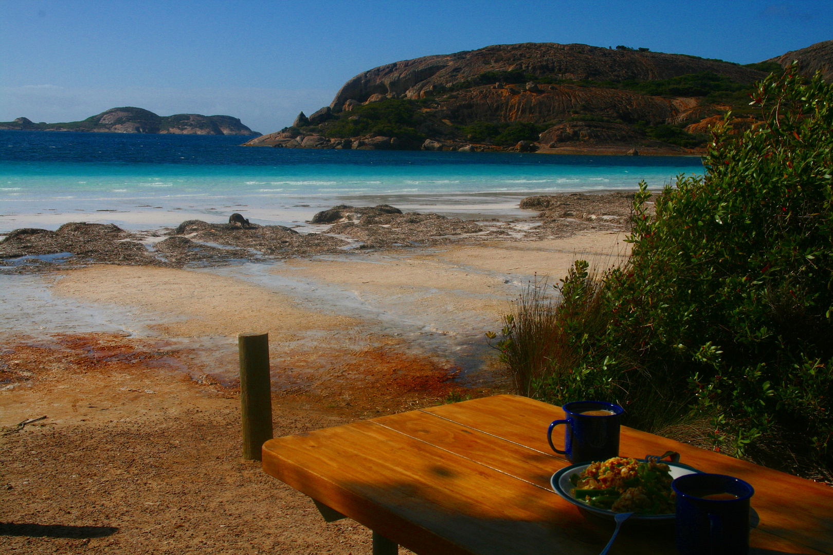 Frühstück am Lucky Beach im Le Grand Nationalpark östlich von Esperance...