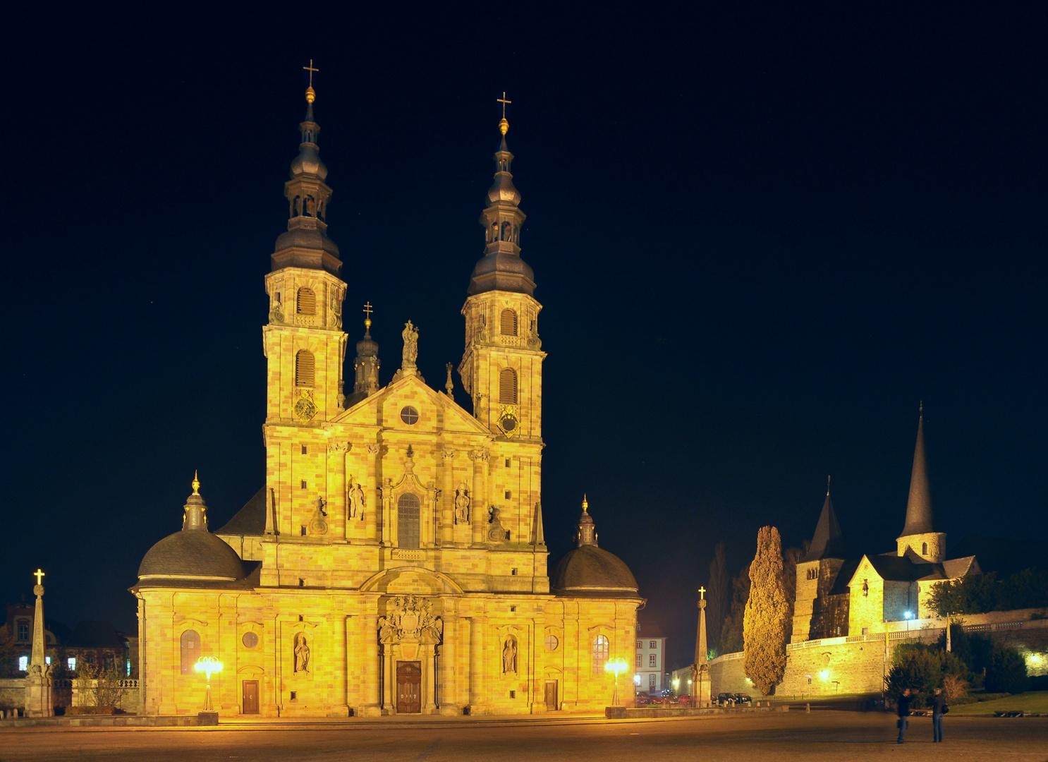 Fulda Dom Christus Erlöser Nachtaufnahme