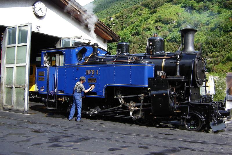 Furka pass railway.