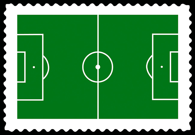 Fussballfeldbriefmarke