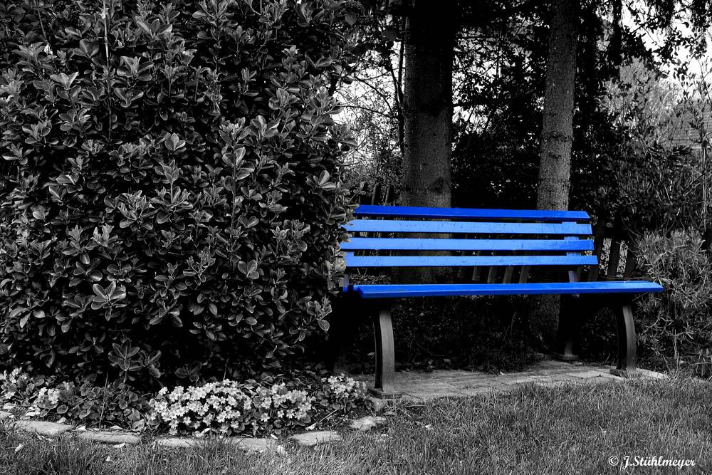 Gartenbank in blue