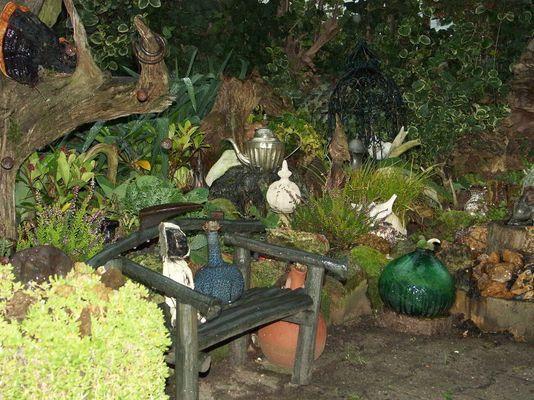 Gartenecke bei schlechtem Wetter