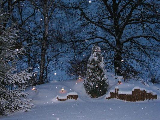 Gartenhügel im Schnee