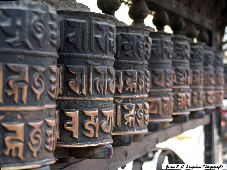 Gebetsmühlen auf dem Swayambhunath oberhalb Kathmandu