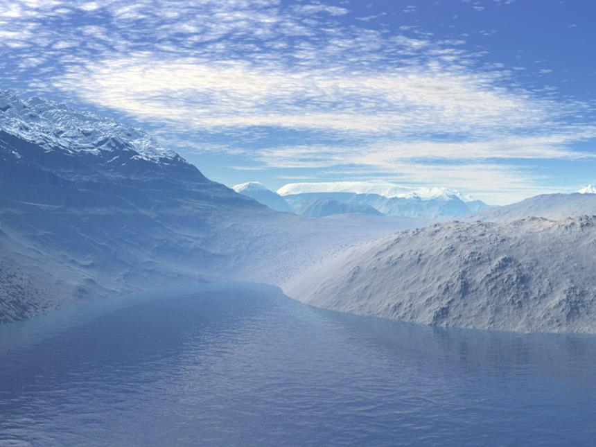 Gebirge am Fluß