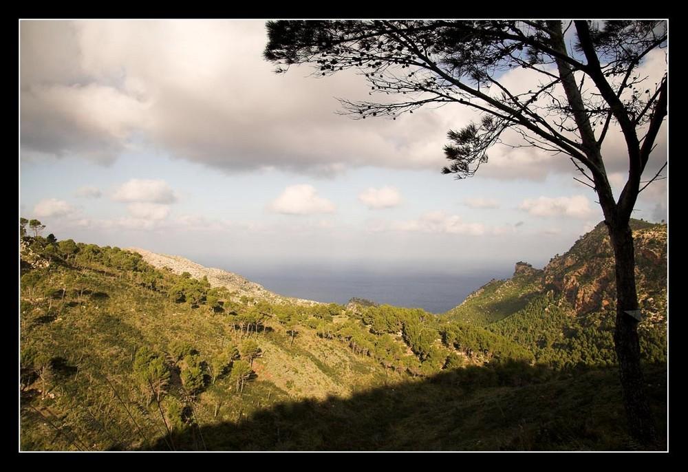 Gebirge mit Meeresblick