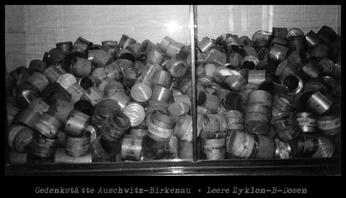 Gedenkstätte Auschwitz-Birkenau * Leere Zyklon-B-Dosen