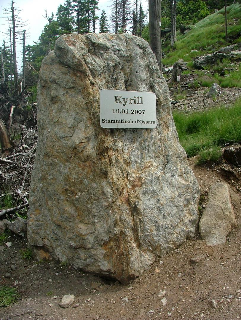 """Gedenkstein - Kyrill am Bayrischen Berg """"der Osser """""""