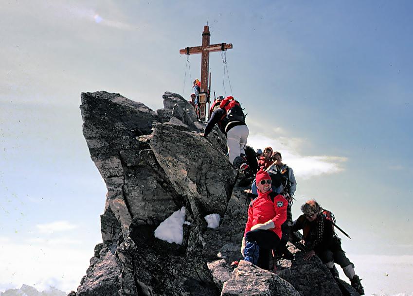 Gedränge auf der Dreiländerspitze/Silvretta