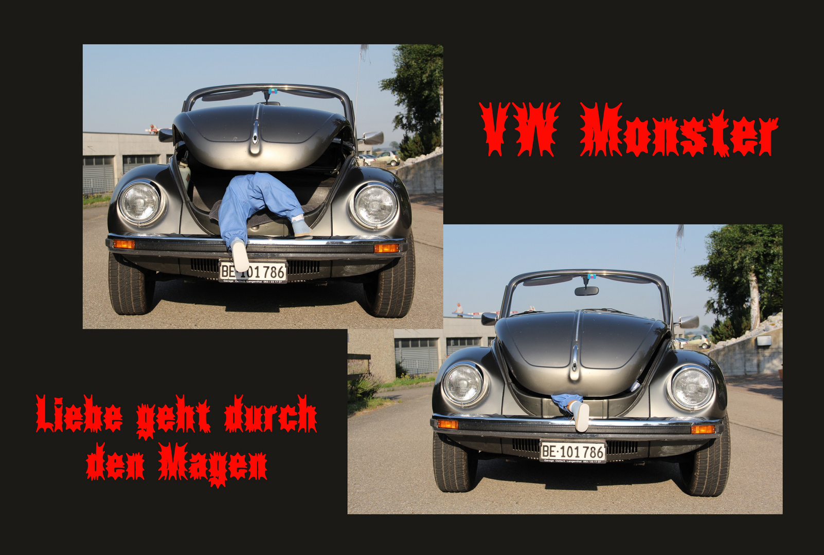 Gefräsiger VW Käfer bei der Mahlzeit...... Autsch