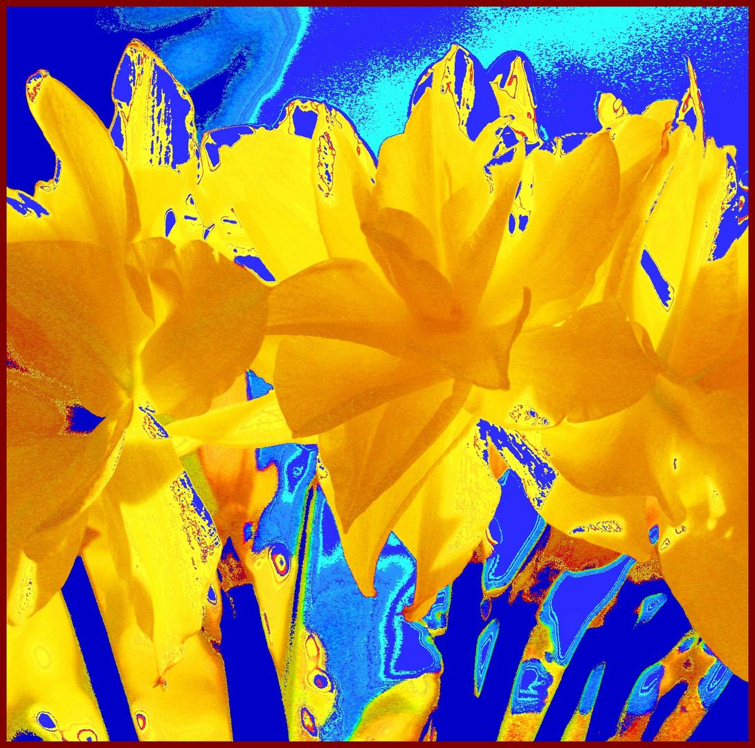 gelb in blau