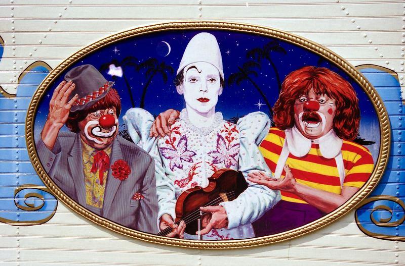 """Gemälde eines Zirkuswagens v.Circus """"RONCALLI."""""""