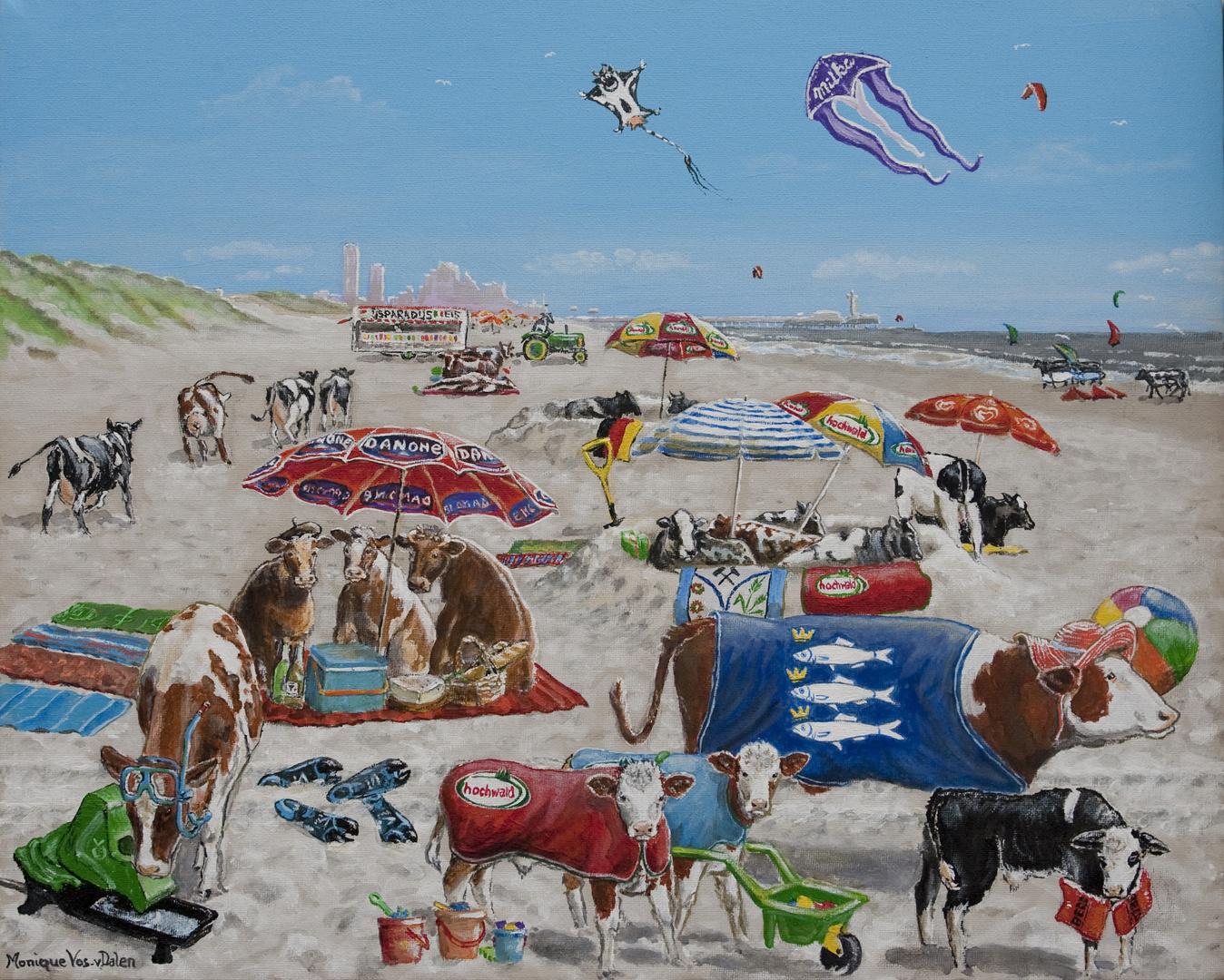 Gemälde für eine Freundin aus Scheveningen: Kuhristen am Nordsee