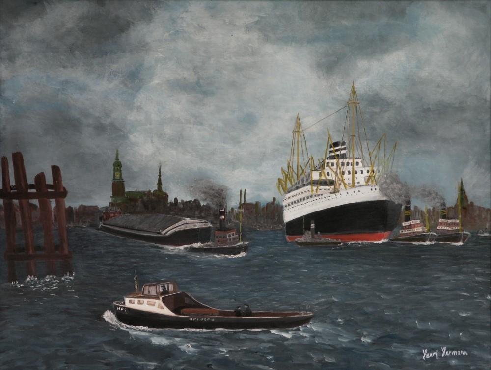"""Gemälde """"Hamburger Hafen im vorigem Jahrhundert"""""""