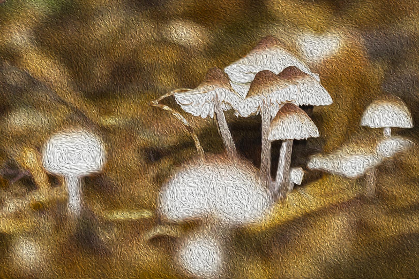 Gemälde mit Pilzen