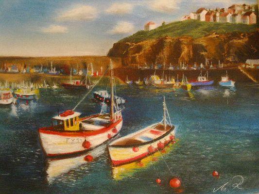 gemalte Version Mewagissey in Cornwall