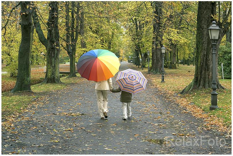 """""""Gemeinsamer Weg"""" - Mutter und Sohn beim Spaziergang mit bunten Regenschirmen im Herbst im Park"""