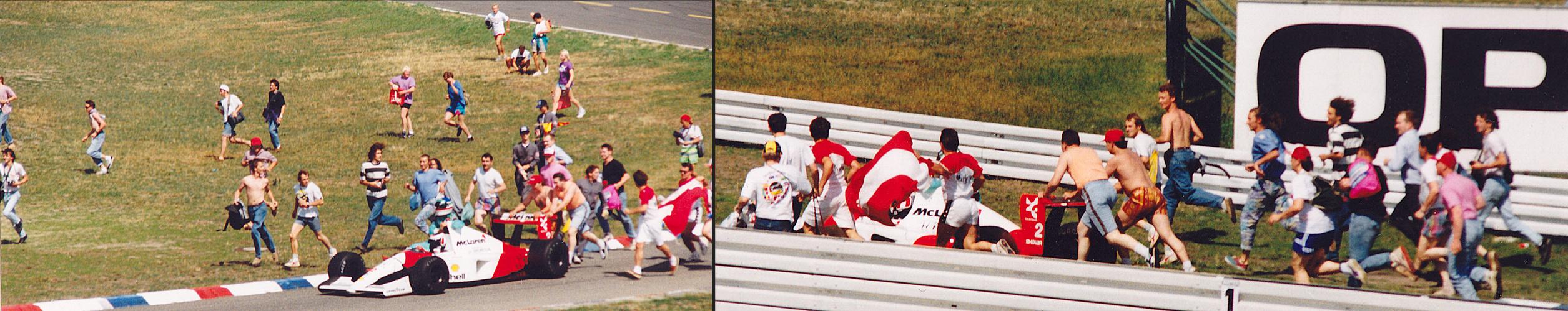 Gerhard Berger und seine schiebenden Fans