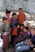 German boy meeting Bhutanese school children